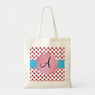 Cute cupcake monogram tote bag