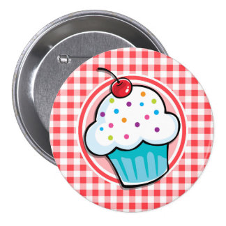 Cute Cupcake on Red and White Gingham 3 Inch Round Button