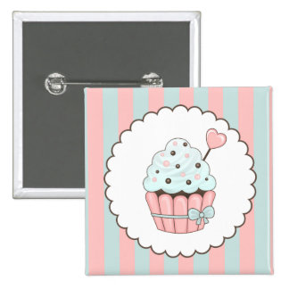 Cute Cupcake Pink & Mint Blue Design 2 Inch Square Button