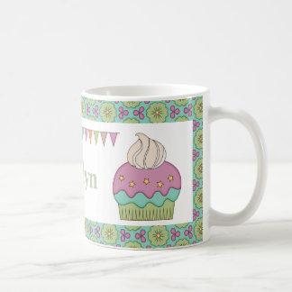 Cute Cupcake Purple Teal Birthday Party Celebrate Basic White Mug