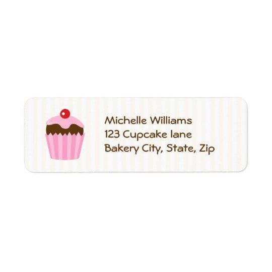 Cute cupcake return address label, pink brown
