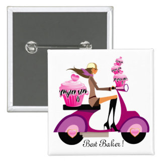 Cute Cupcake Scooter Girl Button Pink Zebra