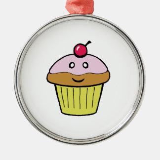 cute cupcake Silver-Colored round ornament