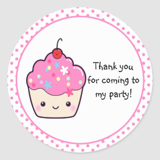 Cute Cupcake Thank You Classic Round Sticker