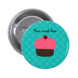 Cute cupcake turquoise snowflakes 2 inch round button