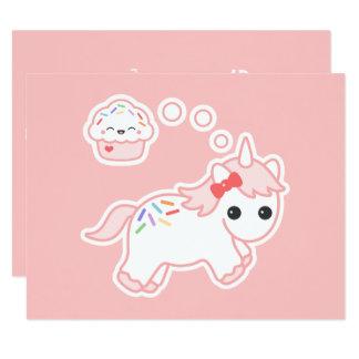 Cute Cupcake Unicorn Birthday Party Invitations