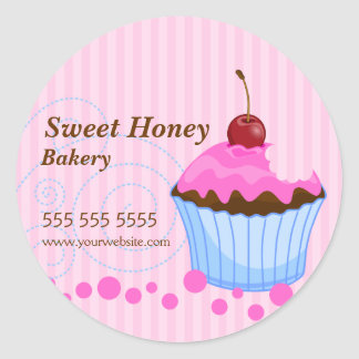 Cute Cupcake With Cherry Bakery Stickers