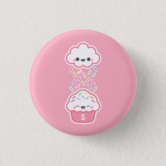 Cute Cupcake with Sprinkles Monogram 1 Inch Round Button