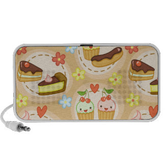 Cute cupcakes and hearts portable speakers