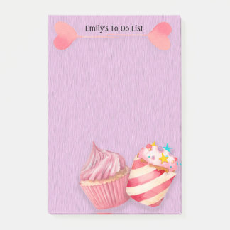 Cute Cupcakes and Lollipops on Purple To Do List Post-it Notes
