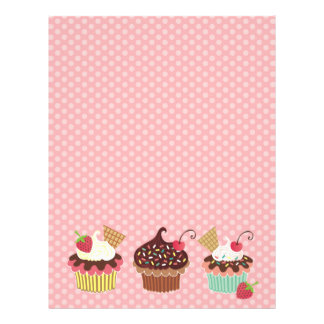 Cute Cupcakes Pink Polkadots Letterhead