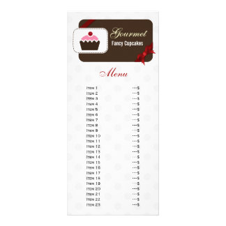 cute cupcakes red bakery menu rack cards