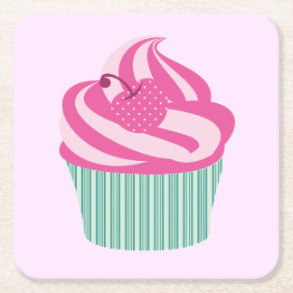 Cute Cupcakes Square Paper Coaster