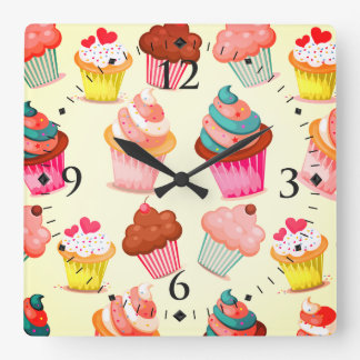 Cute Cupcakes Square Wall Clock