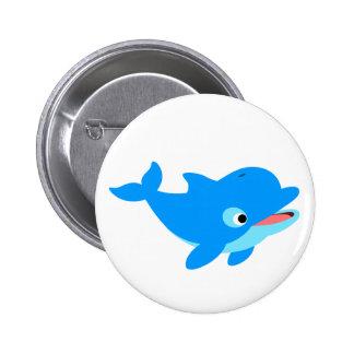 Cute Curious Cartoon Dolphin 2 Inch Round Button