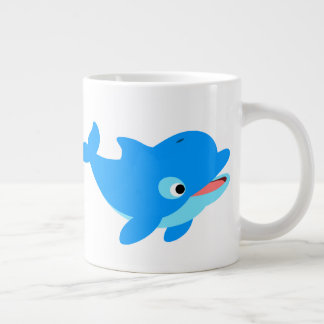 Cute Curious Cartoon Dolphin Large Coffee Mug