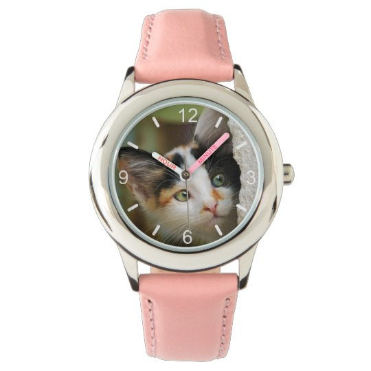 Cute Curious Cat Kitten Prying Eyes .. dial-plate Watch
