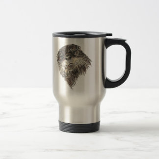 Cute Curious Otter Watercolor Animal Art Travel Mug