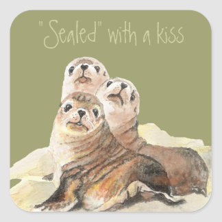 Cute Curious Seals, Sealed with a Kiss Square Sticker