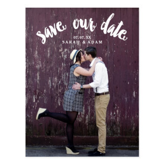 Cute Curved Text   Photo Save the Date Postcard