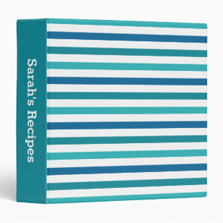 Cute Custom Aqua Teal Blue Stripes Recipe Binder