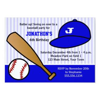 "Cute Custom Baseball Birthday Party Blue and White 4.5"" X 6.25"" Invitation Card"