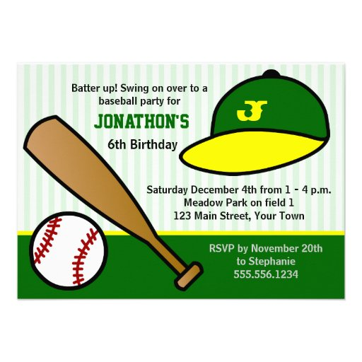 Cute Custom Baseball Birthday Party Green & Yellow Personalized Announcements