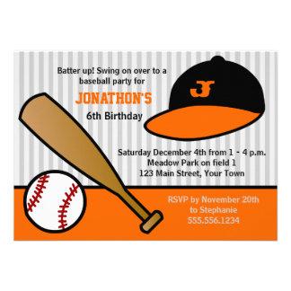 Cute Custom Baseball Birthday Party Orange & Black Personalized Announcements