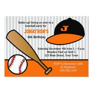 Cute Custom Baseball Birthday Party Orange & Black Personalized Announcements