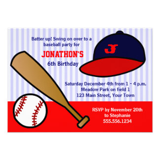 Cute Custom Baseball Birthday Party - Red and Blue Personalized Invitations