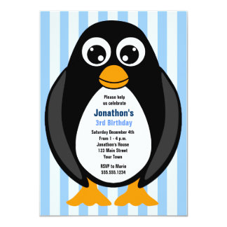 Cute Custom Birthday Party Penguin Invite - Blue