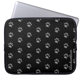 Cute Custom Black Cat Paw Print Laptop Sleeve