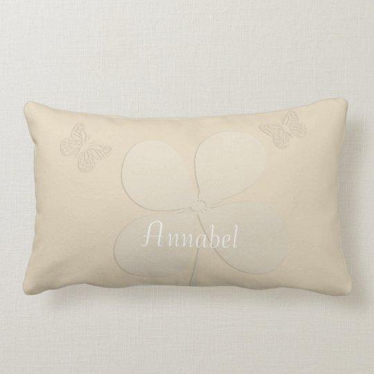 Cute Custom Butterflies Floral Beige Lumbar Pillow