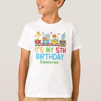 Cute Custom Circus Animal Train 5th Birthday T-Shirt