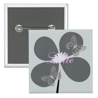 Cute Custom Floral Butterflies Badge 2 Inch Square Button