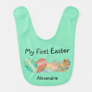 Cute Custom Lime Green Pastel My First Easter Bib