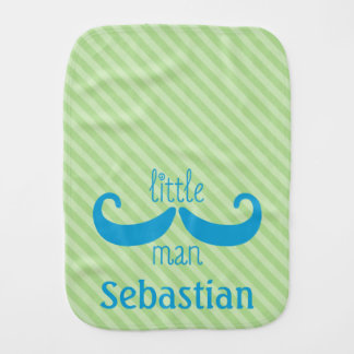Cute Custom Little Man Mustache Personalized Green Baby Burp Cloth