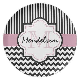 Cute custom monogrammed party plate