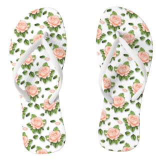 Cute Custom Peach Blossom Flip Flops