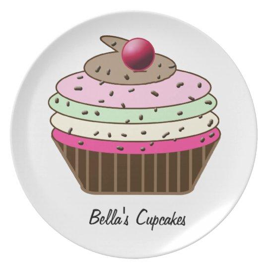 Cute custom personalized cupcake plate