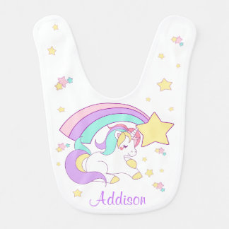 Cute Custom Personalized Magical Rainbow Unicorn Bib
