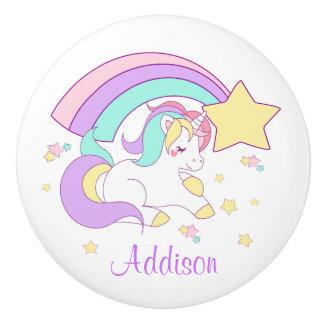 Cute Custom Personalized Magical Rainbow Unicorn Ceramic Knob