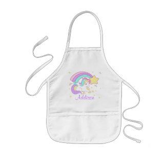 Cute Custom Personalized Magical Rainbow Unicorn Kids Apron