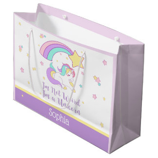 Cute Custom Personalized Magical Rainbow Unicorn Large Gift Bag