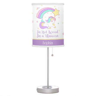 Cute Custom Personalized Magical Rainbow Unicorn Table Lamp