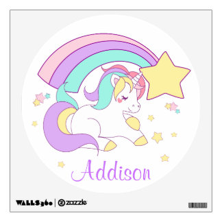 Cute Custom Personalized Magical Rainbow Unicorn Wall Sticker