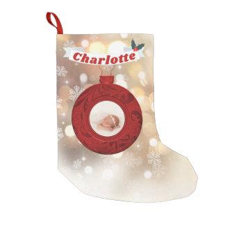 Cute Custom Photo Monogram Name Red Gold Bokeh Small Christmas Stocking