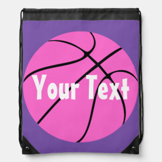 Cute Custom Pink Basketball Drawstring Backpack