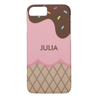 Cute Custom Pink Ice Cream + Text iPhone 7 Case