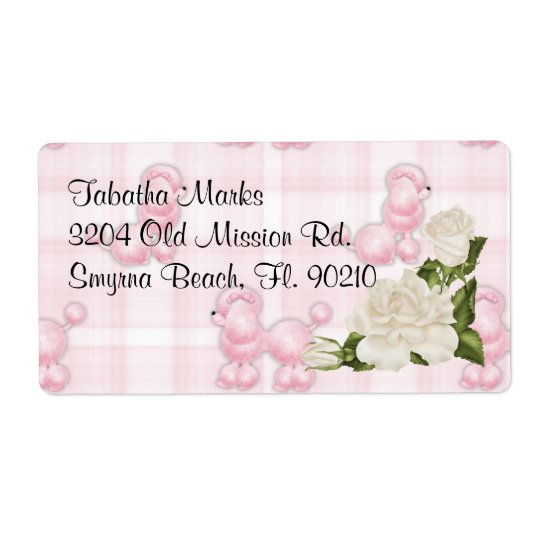 Cute Custom Pink Poodles Address Labels